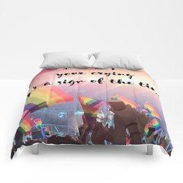 Harry Styles - rainbow flag Comforters
