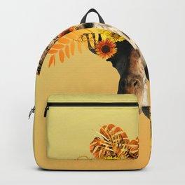 Giraffe Sunflowers Artwork - yellow leaves Mandala Ornaments Backpack