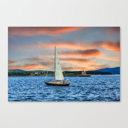 Sailboat and Lighthouse Canvas Print