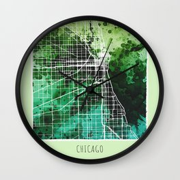 Chicago City Map/ Green Wall Clock
