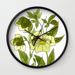 Green Hellebore Wall Clock