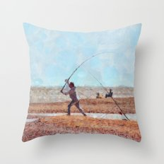 Beach Casting At Dungeness Throw Pillow