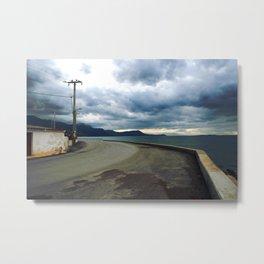 Landscape Fine Art Photography Seascape Travel Stormy Weather Sea Road Cloudy Sky Metal Print