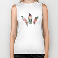 feathers Biker Tanks featuring Feathers  by Juliana Zimmermann