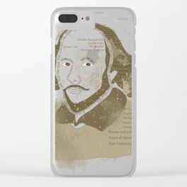 Portrait of William Shakespeare-Hand drawn-Vintage Clear iPhone Case