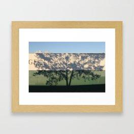 Shadow Tree on an industrial building Framed Art Print