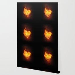 Fire Flame Burn Heart Love Wallpaper