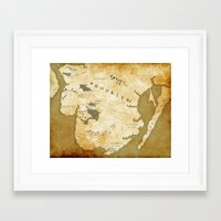 westeros Framed Art Prints featuring Fantasy Map of Brooklyn: Gold Parchment by Midgard Maps