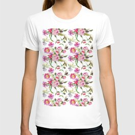 Pink lavender yellow watercolor elegant floral T-shirt