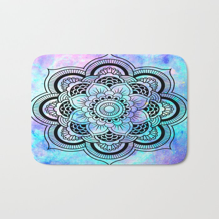 mandala pink lavender aqua galaxy space Bath Mat