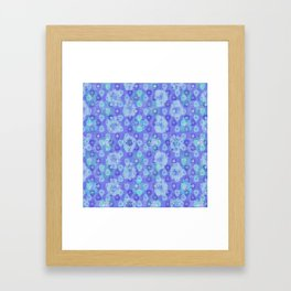 Lotus flower - pool blue woodblock print style pattern Framed Art Print