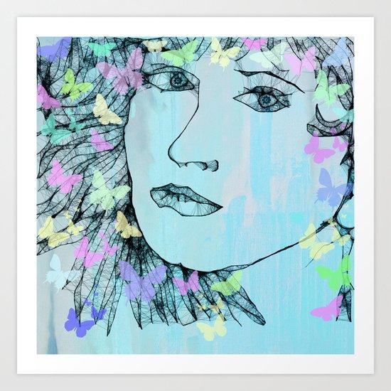 Butterfly Girl  - JUSTART © Art Print