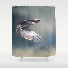 Heron in Flight Shower Curtain