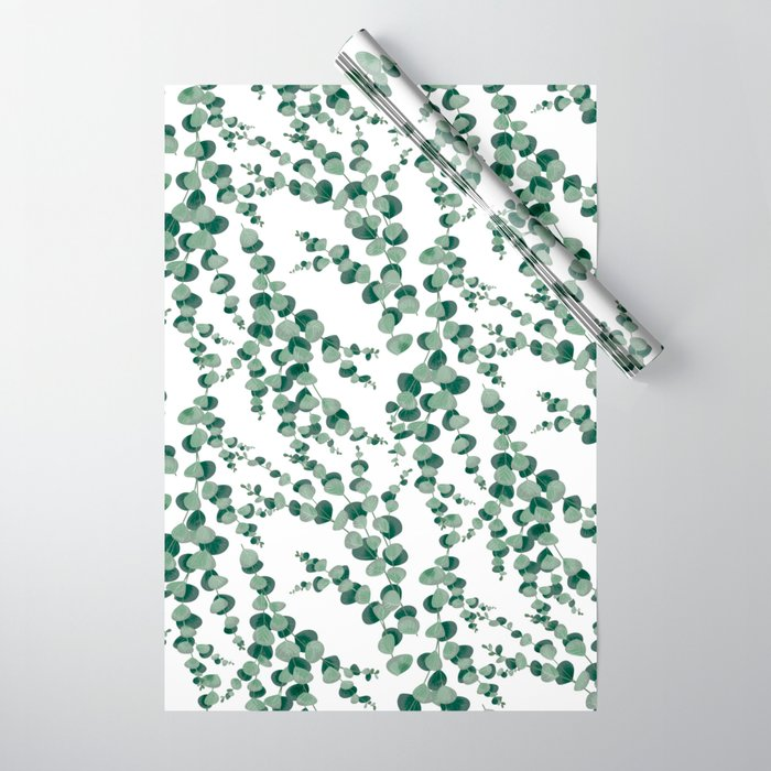 Eucalyptus leaves in white Wrapping Paper