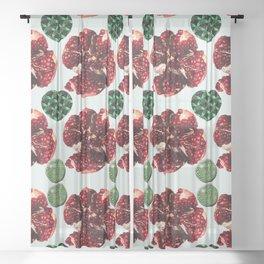Garnets and fractal hearts Sheer Curtain