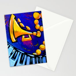 Purple & Gold Music Stationery Cards