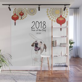 Year of the Dog - White Labrador Wall Mural