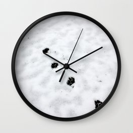 Hunting snow beast paw prints Wall Clock