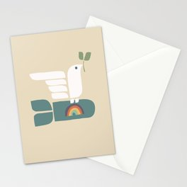 Peace dove and rainbow bomb Stationery Cards