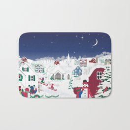 Christmas carolers in the country Bath Mat