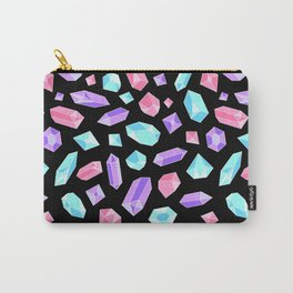 Pastel Crystal Pattern on Black Carry-All Pouch