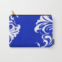 Damask Blue and White Victorian Swirl Damask Pattern Carry-All Pouch