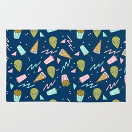 Alien outer space cute aliens french fries rad sodas pattern print Rug