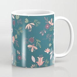 Teal Whimsical Floral Coffee Mug
