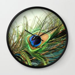 peacock feather-teal Wall Clock