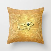 all seeing eye Throw Pillows featuring The all seeing eye by nicky2342