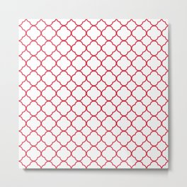 Clover Quatrefoil Pattern: Red Metal Print