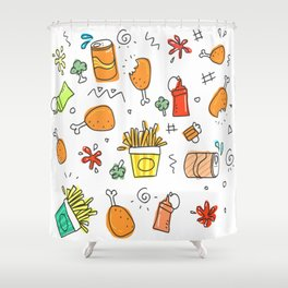 Fat food pattern. Shower Curtain