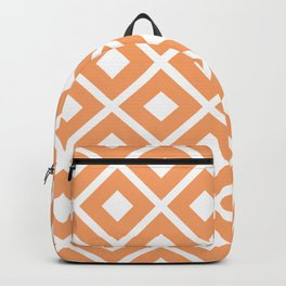 Abstract Apricot Peach Diamond Geometric  Pattern Backpack