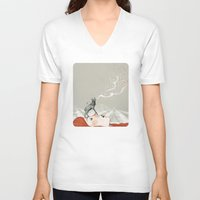 photograph V-neck T-shirts featuring Deer Lady! by Sandra Dieckmann