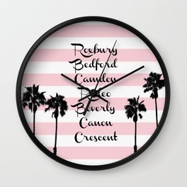 Beverly Hills Street Names Palm Trees Pink Stripes Wall Clock