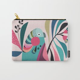Parakeet with pink background Carry-All Pouch