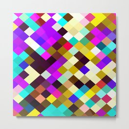 geometric square pixel pattern abstract in purple pink yellow blue brown Metal Print