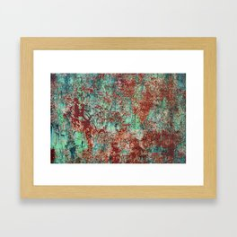 Abstract Rust on Turquoise Painting Framed Art Print