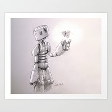 The Awkward Robot and the Luminous Butterfly Art Print