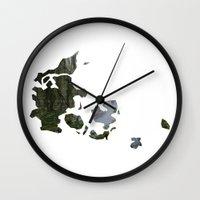 denmark Wall Clocks featuring Denmark by Isabel Moreno-Garcia
