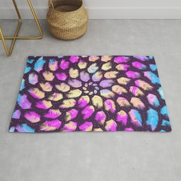 Airy Mandala Made out of Feathers - Dark Iridescent Rainbow Rug