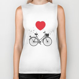 black bicycle silhouette and red heart on white background Biker Tank