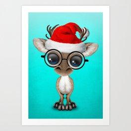 Christmas Reindeer Wearing a Santa Hat Art Print