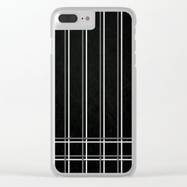 White & Gray Pinstripes on Scratched Black Grunge Illustration - Graphic Design Clear iPhone Case