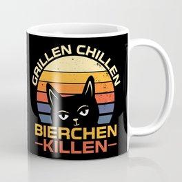 Grillen Chillen Bierchen Killen Katze Geschenk Coffee Mug