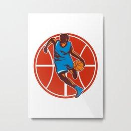 Basketball Player Dribble Ball Front Retro Metal Print