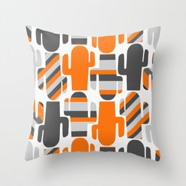 Modern striped cacti Throw Pillow