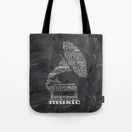 Gramophone on chalkboard Tote Bag
