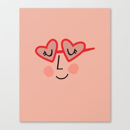Heart Sunnies Face in Peach Canvas Print