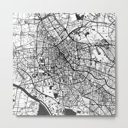 Tianjin Map Gray Metal Print